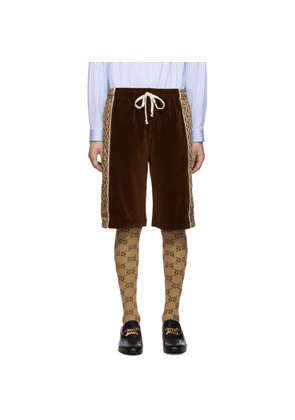 Gucci Brown Jacquard Logo Rhombus Shorts