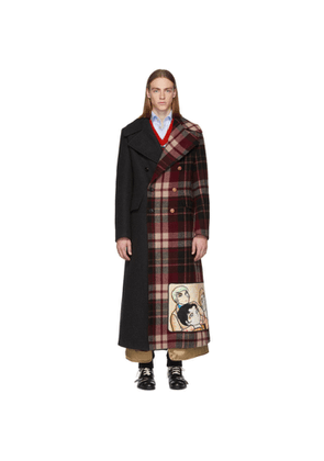Gucci Grey and Red Wool Madras Coat