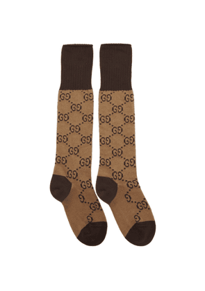 Gucci Brown and Beige GG Long Socks