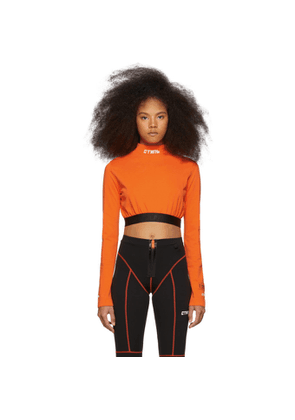 Heron Preston Orange Style Cropped Long Sleeve T-Shirt