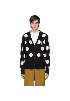 Maison Kitsune Black and White Acide Fox Classic All-Over Dots Cardigan