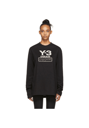 Y-3 Black Stacked Logo Long Sleeve T-Shirt