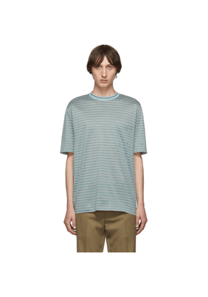 Lanvin Green Striped Embroidered Logo T-Shirt