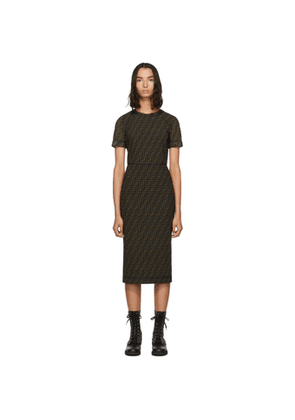 Fendi Brown Mesh Forever Fendi Dress