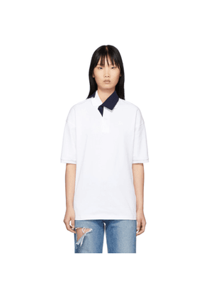 Lacoste White and Navy Contrast Collar Polo