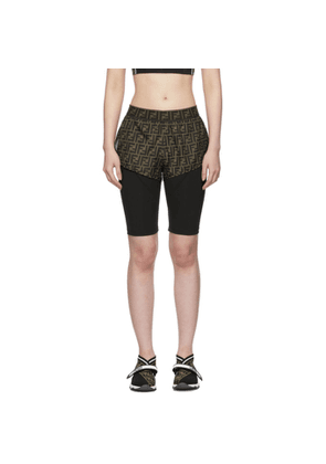 Fendi Black and Brown Forever Fendi Biker Shorts