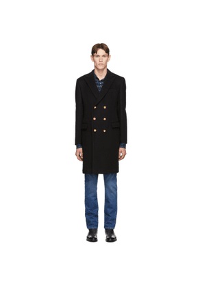 Eidos Black Wool Double-Breasted Over Coat
