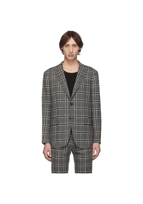 Eidos Grey Wool Windowpane Plaid Blazer