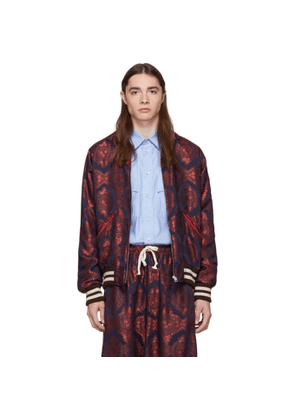 Gucci Red and Navy Baroque Jacquard Bomber Jacket