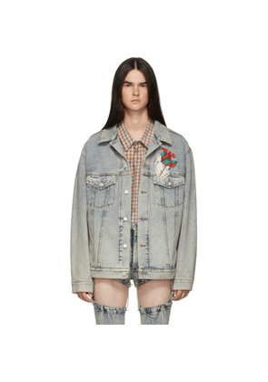 Gucci Blue Denim Oversized Embroidered Jacket