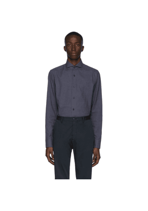 Z Zegna Navy and Grey Check Cotton Shirt