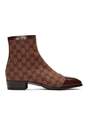 Gucci Burgundy Canvas Original GG Boots