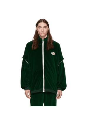Gucci Green Convertible Velvet Track Jacket