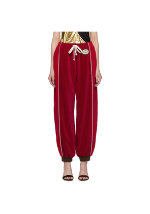 Gucci Red Chenille Drawstring Lounge Pants