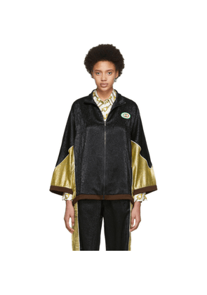 Gucci Black and Gold Crepe Lame Kimono Jacket