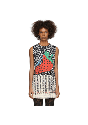 Gucci Black and White Beaded Strawberry T-Shirt
