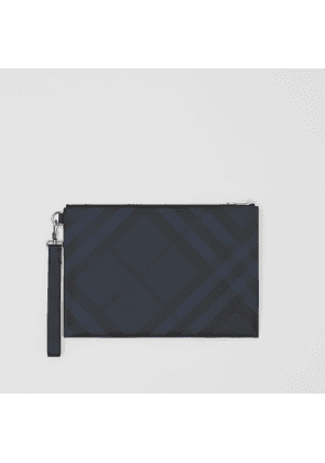 Burberry London Check and Leather Zip Pouch, Blue