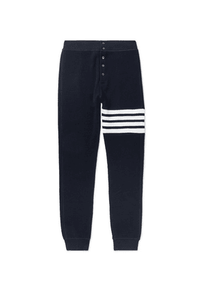 Thom Browne - Slim-fit Tapered Striped Waffle-knit Cotton Sweatpants - Navy