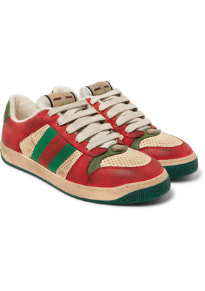Gucci - Virtus Distressed Leather And Webbing Sneakers - Red