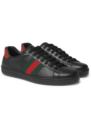 Gucci - Ace Snake-trimmed Leather Sneakers - Black