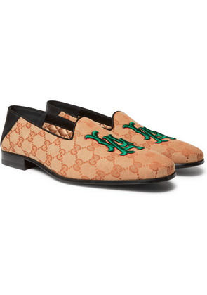 Gucci - + Los Angeles Dodgers Gallipoli Collapsible-heel Appliquéd Monogrammed Canvas Loafers - Brown