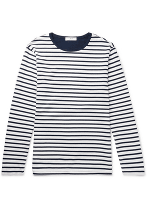 Mr P. - Striped Long-sleeved Cotton-jersey T-shirt - Navy