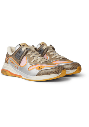 Gucci - Ultrapace Metallic And Lizard-effect Leather, Mesh And Distressed Suede Sneakers - Neutral