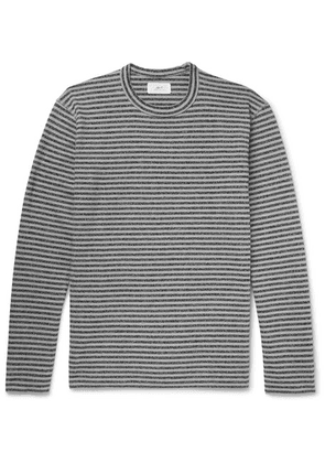 Mr P. - Striped Cotton And Wool-blend Jersey T-shirt - Gray