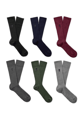 London Sock Co. - Traditional Six-pack Ribbed Stretch Cotton-blend Socks - Multi