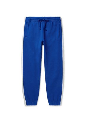 Gucci - Webbing-trimmed Loopback Cotton-jersey Sweatpants - Blue