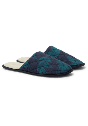 Desmond & Dempsey - Byron Faux Shearling-lined Printed Cotton Slippers - Green