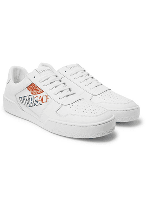 Versace - Heritage Logo-print Leather Sneakers - White