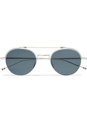 Thom Browne - Round-frame Silver And Gold-tone Sunglasses - Silver