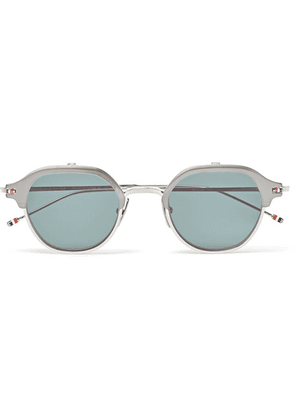 Thom Browne - Round-frame Silver-tone Optical Glasses With Clip-on Uv Lenses - Silver