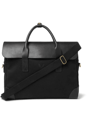 Bennett Winch - Cotton-canvas And Full-grain Leather Briefcase - Black