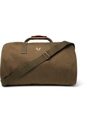Bennett Winch - Leather-trimmed Cotton-canvas Suit Carrier And Holdall - Green
