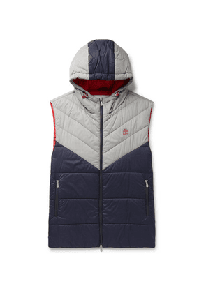 Brunello Cucinelli - Colour-block Quilted Nylon Hooded Down Gilet - Navy