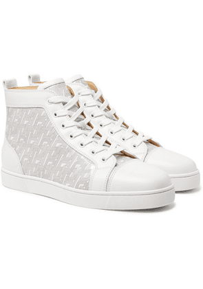 Christian Louboutin - Louis Smooth And Logo-print Patent-leather High-top Sneakers - White