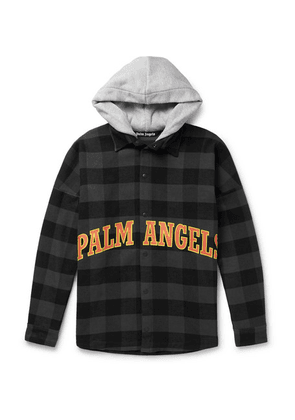 Palm Angels - Oversized Logo-print Checked Cotton-blend Flannel Hooded Overshirt - Gray