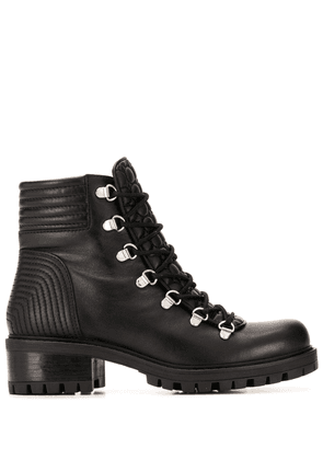 Albano lace up quilted effect boots - Black