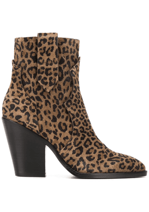 Ash leopard pattern ankle boots - Brown