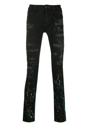 Philipp Plein distressed paint print jeans - Black