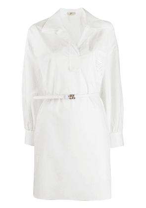 Fendi belted asymmetric shirt dress - White
