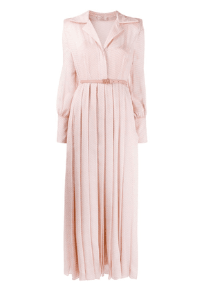 Fendi textured belted pleated dress - PINK