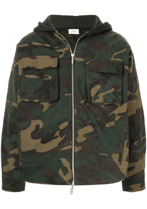 Rhude camouflage print hooded jacket - Green