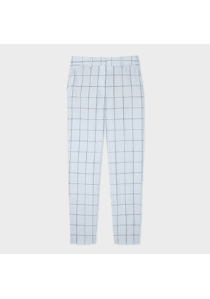Women's Classic-Fit Light Blue Windowpane Check Wool Trousers