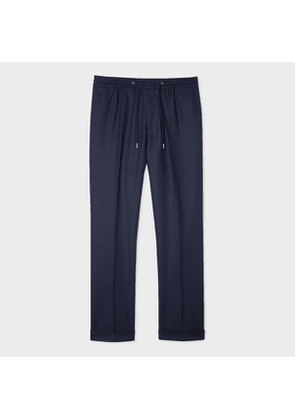 Men's Dark Navy Wool Drawstring Trousers