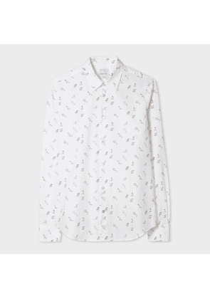 Men's Slim-Fit White 'Year Of The Rat' Print Cotton Shirt