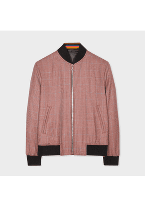 Men's Red Prince Of Wales Check Wool Bomber Jacket
