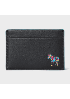 Men's Black 'Zebra' Print Leather Credit Card Holder With Teal Trims
